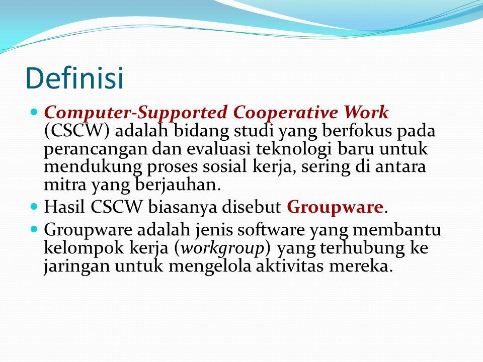 Definisi  Computer-Supported Cooperative Work (CSCW) adalah bidang studi yang berfokus pada perancangan dan evaluasi teknologi baru untuk mendukung p