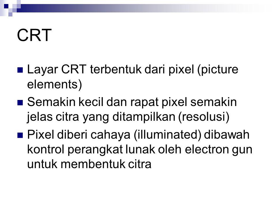 CRT  Layar CRT terbentuk dari pixel (picture elements)  Semakin kecil dan rapat pixel semakin jelas citra yang ditampilkan (resolusi)  Pixel diberi cahaya (illuminated) dibawah kontrol perangkat lunak oleh electron gun untuk membentuk citra