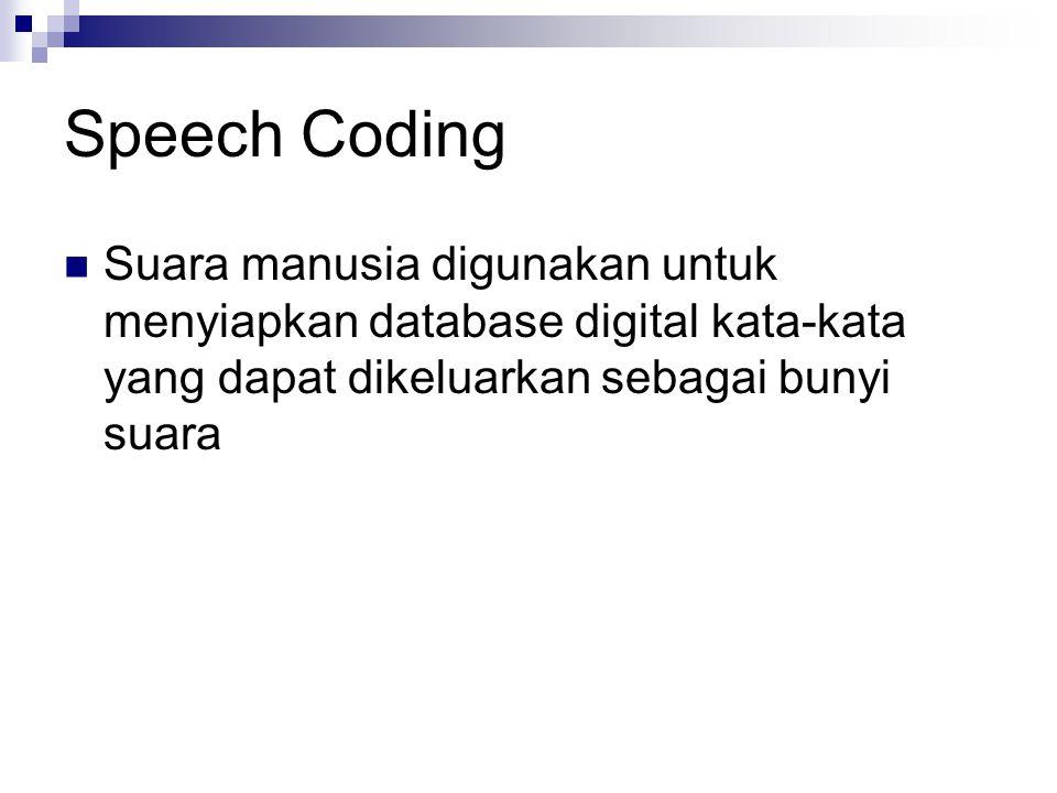 Speech Coding  Suara manusia digunakan untuk menyiapkan database digital kata-kata yang dapat dikeluarkan sebagai bunyi suara