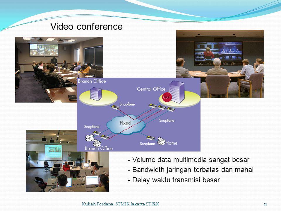 11Kuliah Perdana, STMIK Jakarta STI&K Video conference - Volume data multimedia sangat besar - Bandwidth jaringan terbatas dan mahal - Delay waktu transmisi besar