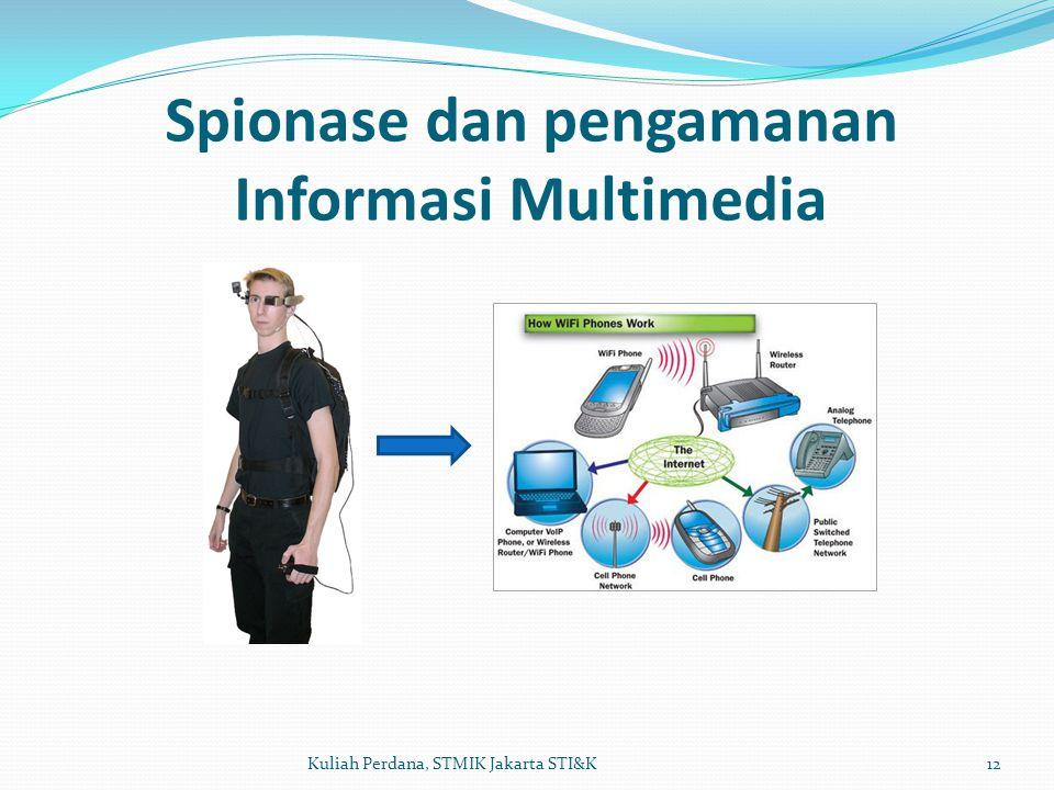 Spionase dan pengamanan Informasi Multimedia 12Kuliah Perdana, STMIK Jakarta STI&K