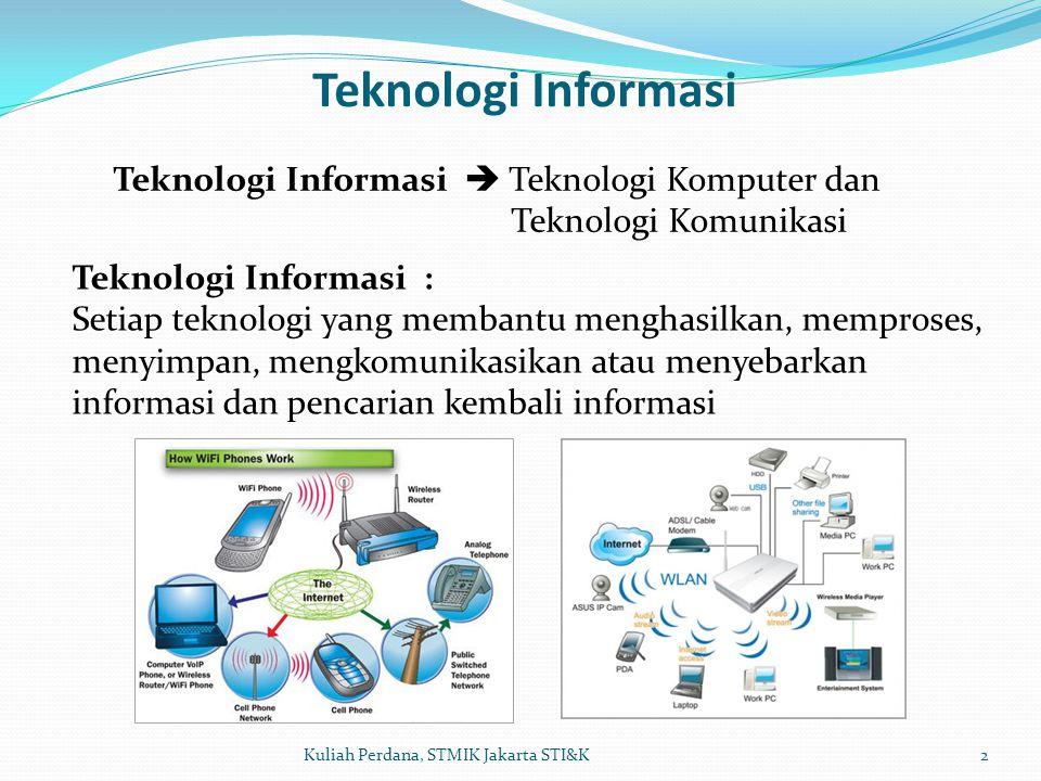Teknologi Informasi 3Kuliah Perdana, STMIK Jakarta STI&K Teknologi Informasi : - Disain, pengembangan dan implementasi managemen/suport sistem informasi berbasis komputer, khususnya perangkat lunak aplikasi dan perangkat keras komputer.