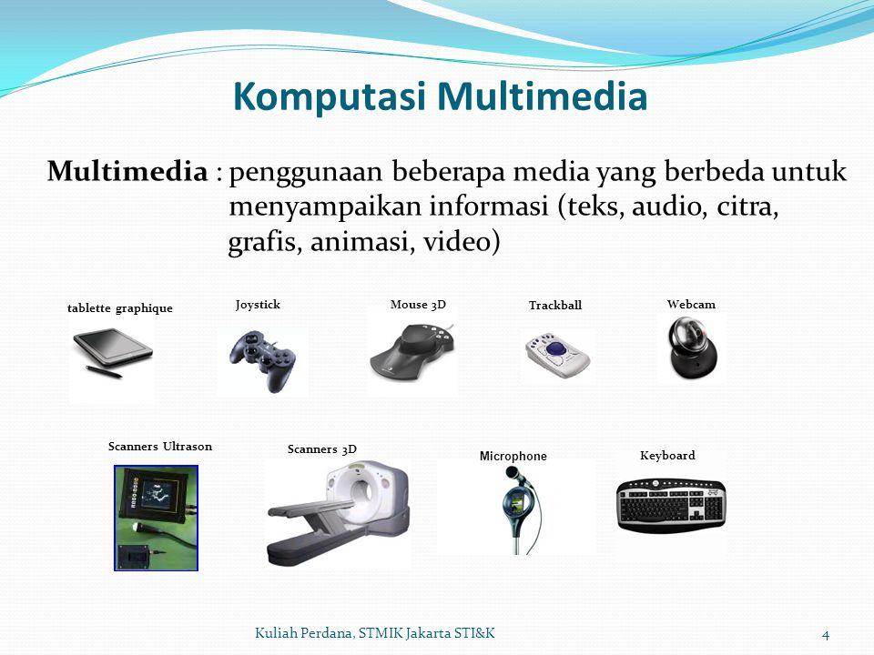 Komputasi Multimedia 4Kuliah Perdana, STMIK Jakarta STI&K Multimedia : penggunaan beberapa media yang berbeda untuk menyampaikan informasi (teks, audio, citra, grafis, animasi, video) tablette graphique Trackball JoystickWebcam Scanners 3D Mouse 3D Scanners Ultrason Microphone Keyboard