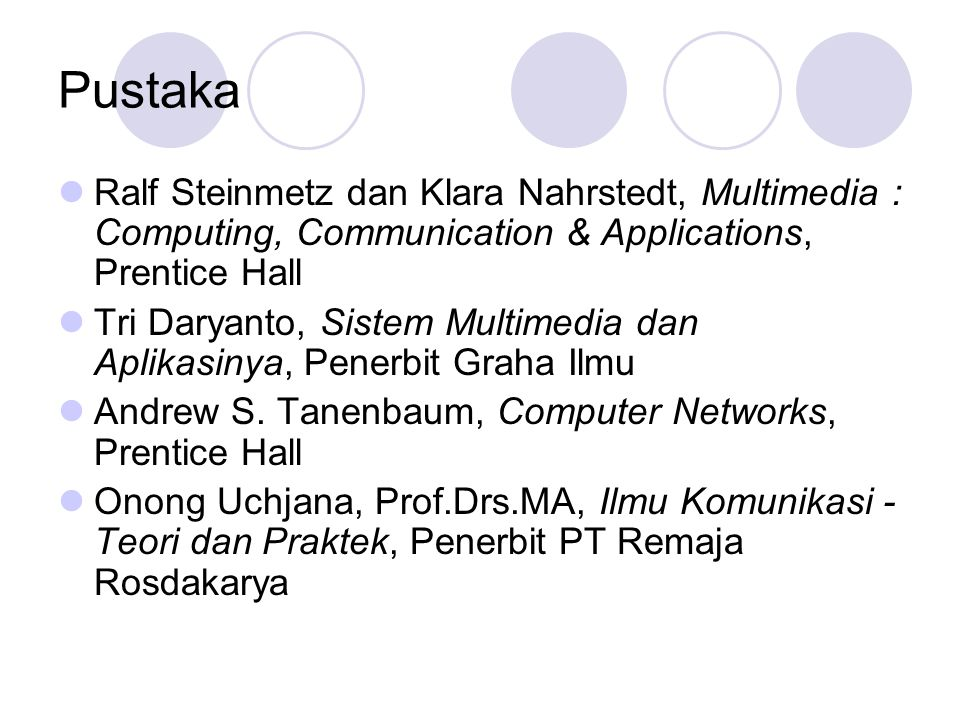 Pustaka  Ralf Steinmetz dan Klara Nahrstedt, Multimedia : Computing, Communication & Applications, Prentice Hall  Tri Daryanto, Sistem Multimedia da