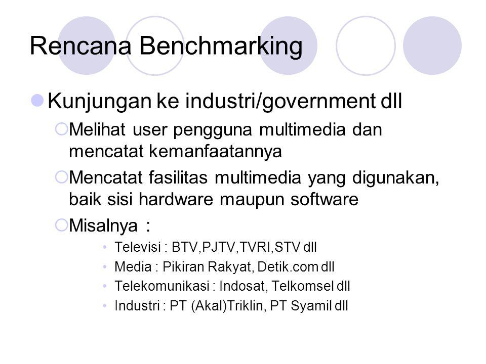 Rencana Benchmarking  Kunjungan ke industri/government dll  Melihat user pengguna multimedia dan mencatat kemanfaatannya  Mencatat fasilitas multim