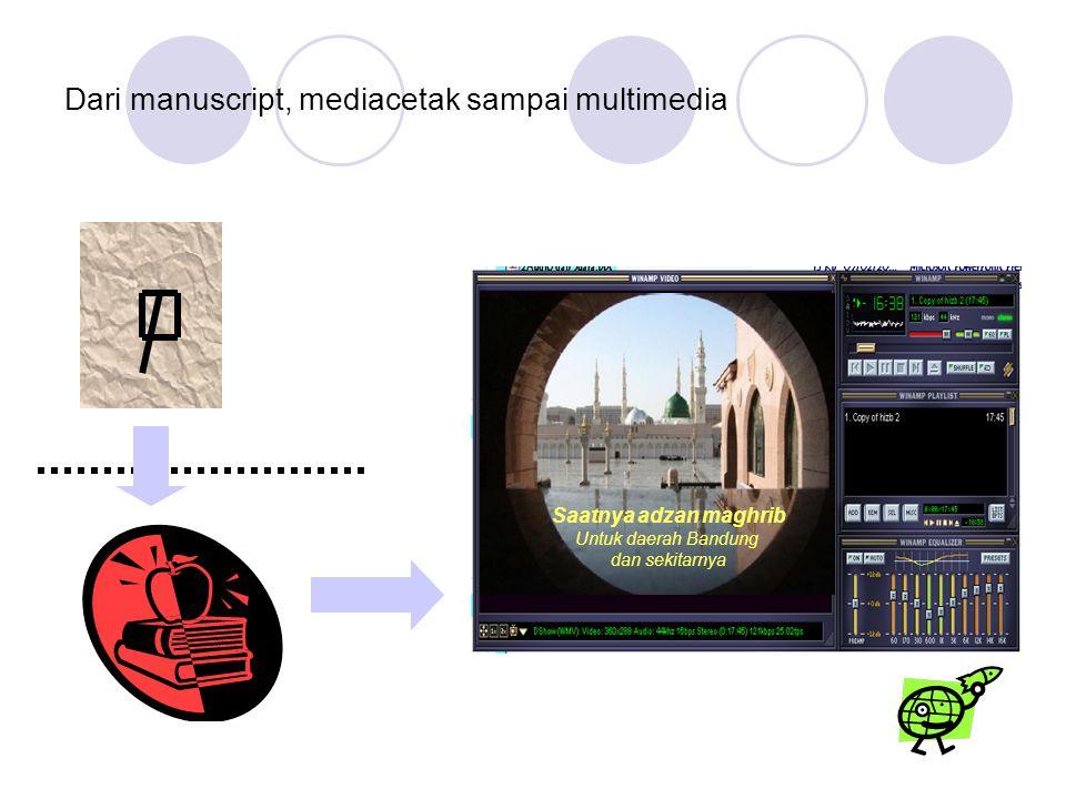 Dari manuscript, mediacetak sampai multimedia Saatnya adzan maghrib Untuk daerah Bandung dan sekitarnya