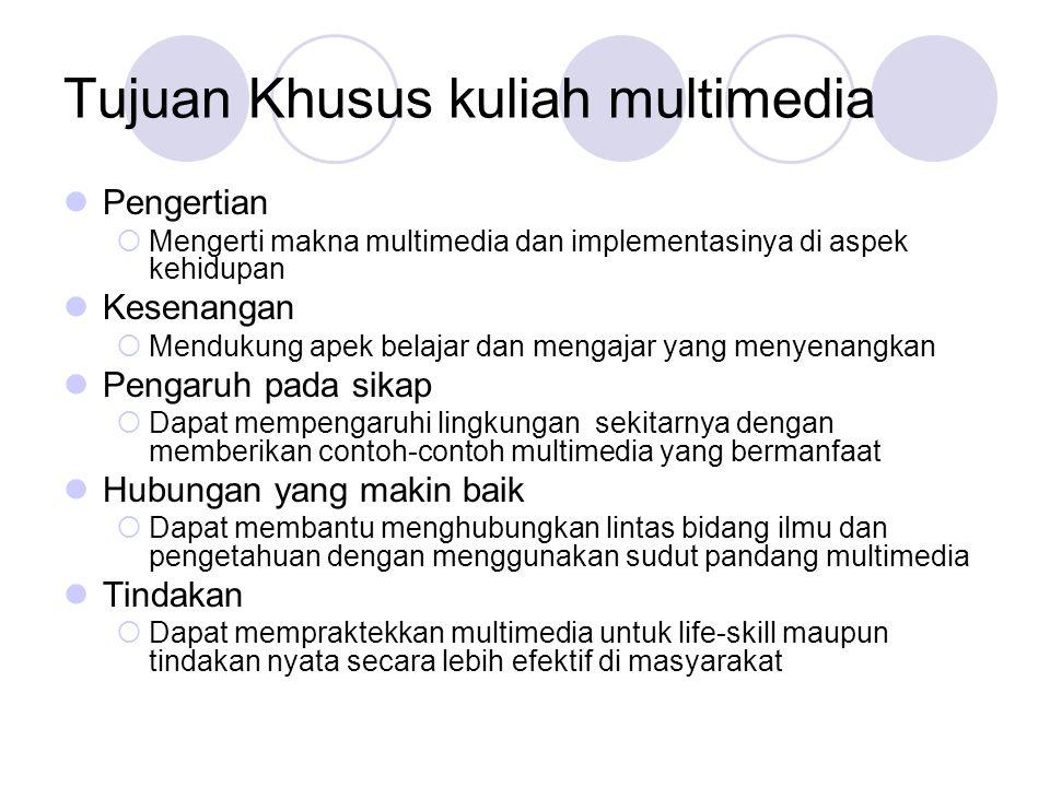 Tujuan Khusus kuliah multimedia  Pengertian  Mengerti makna multimedia dan implementasinya di aspek kehidupan  Kesenangan  Mendukung apek belajar