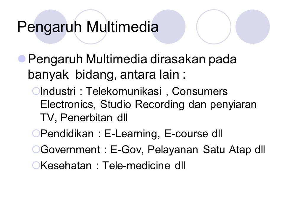 Pengaruh Multimedia  Pengaruh Multimedia dirasakan pada banyak bidang, antara lain :  Industri : Telekomunikasi, Consumers Electronics, Studio Recor
