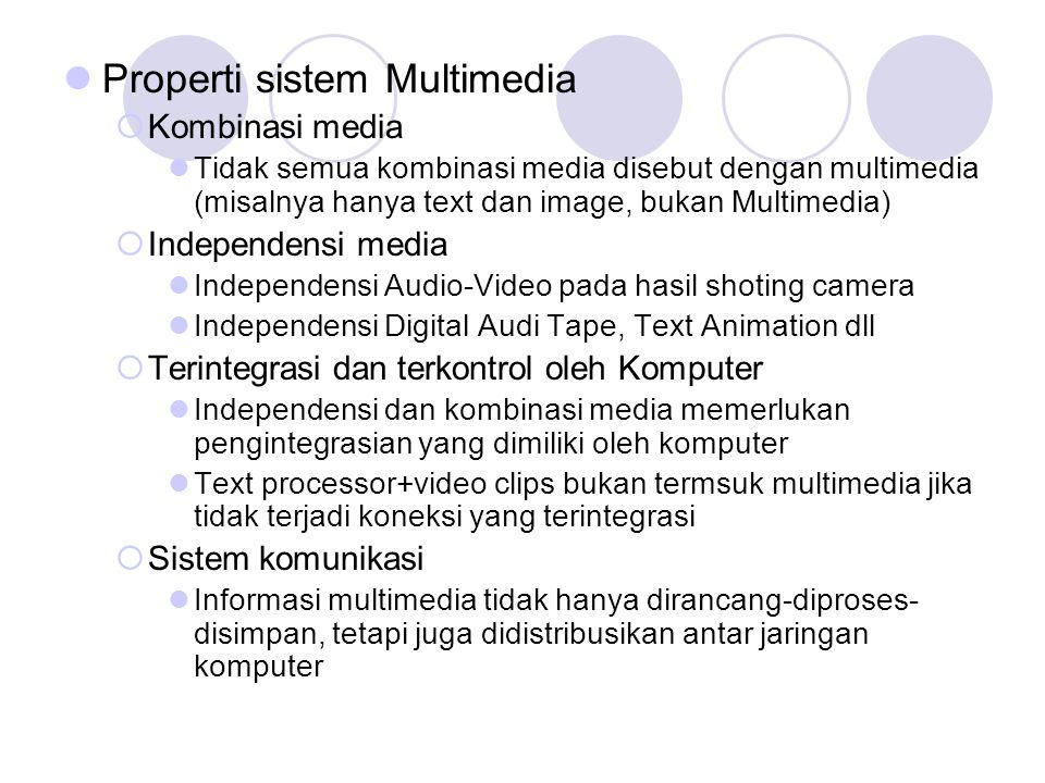  Properti sistem Multimedia  Kombinasi media  Tidak semua kombinasi media disebut dengan multimedia (misalnya hanya text dan image, bukan Multimedi