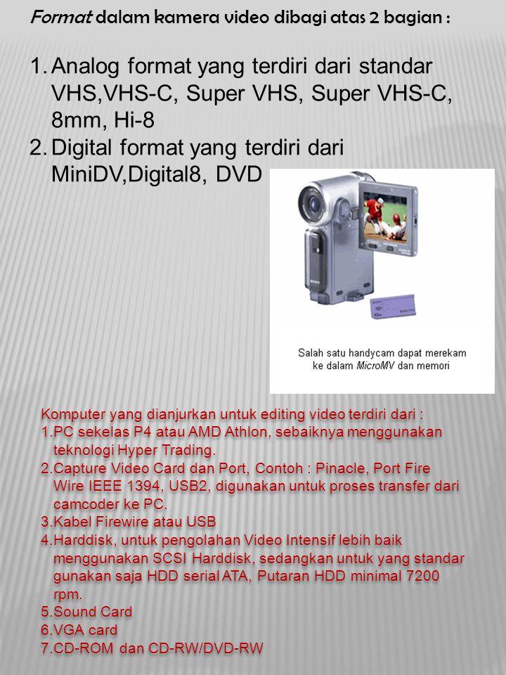 Format dalam kamera video dibagi atas 2 bagian : 1.Analog format yang terdiri dari standar VHS,VHS-C, Super VHS, Super VHS-C, 8mm, Hi-8 2.Digital form