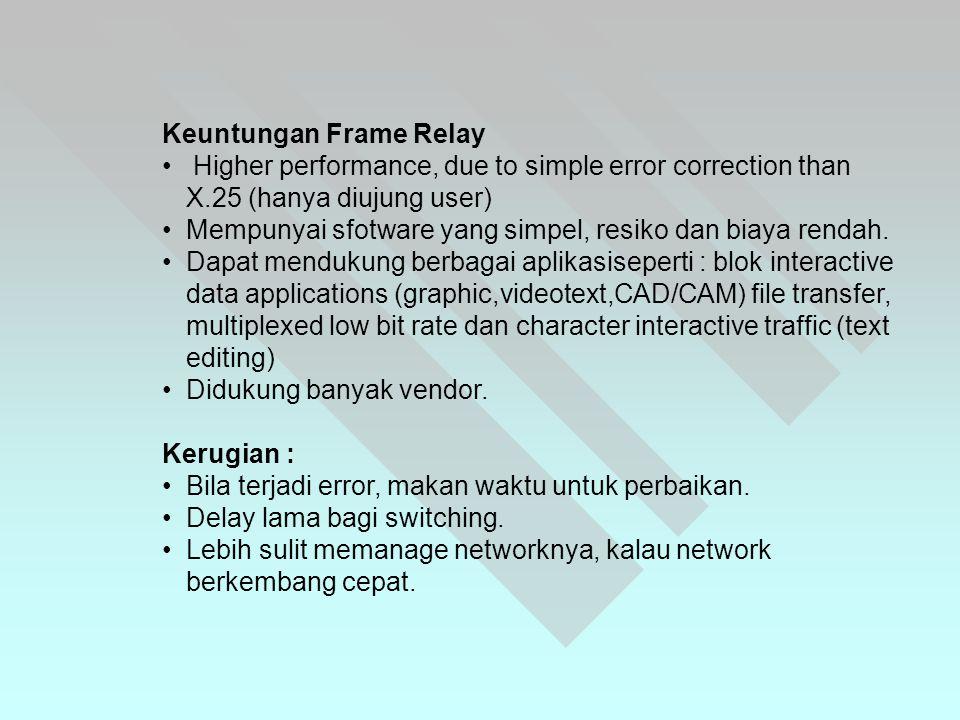 Keuntungan Frame Relay • Higher performance, due to simple error correction than X.25 (hanya diujung user) •Mempunyai sfotware yang simpel, resiko dan biaya rendah.