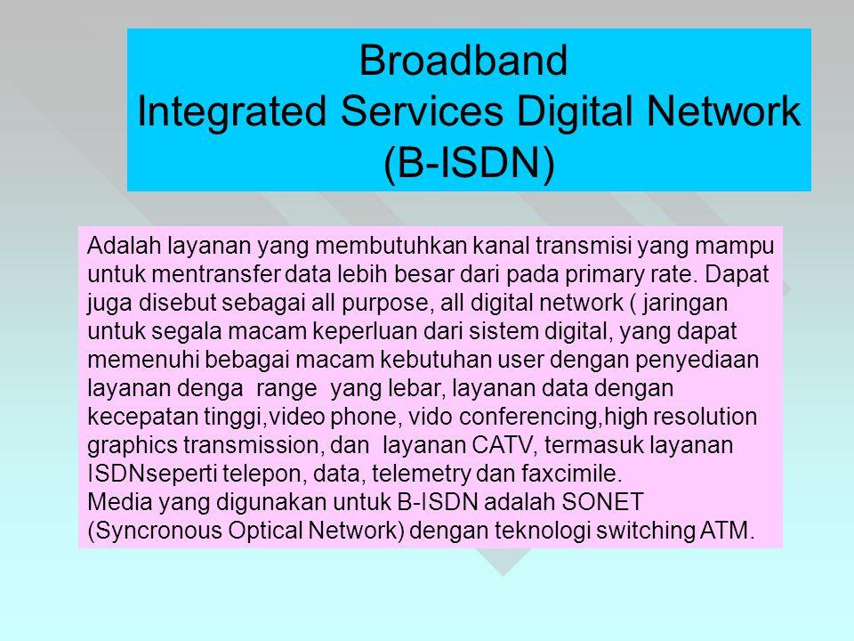 Broadband Integrated Services Digital Network (B-ISDN) Adalah layanan yang membutuhkan kanal transmisi yang mampu untuk mentransfer data lebih besar dari pada primary rate.