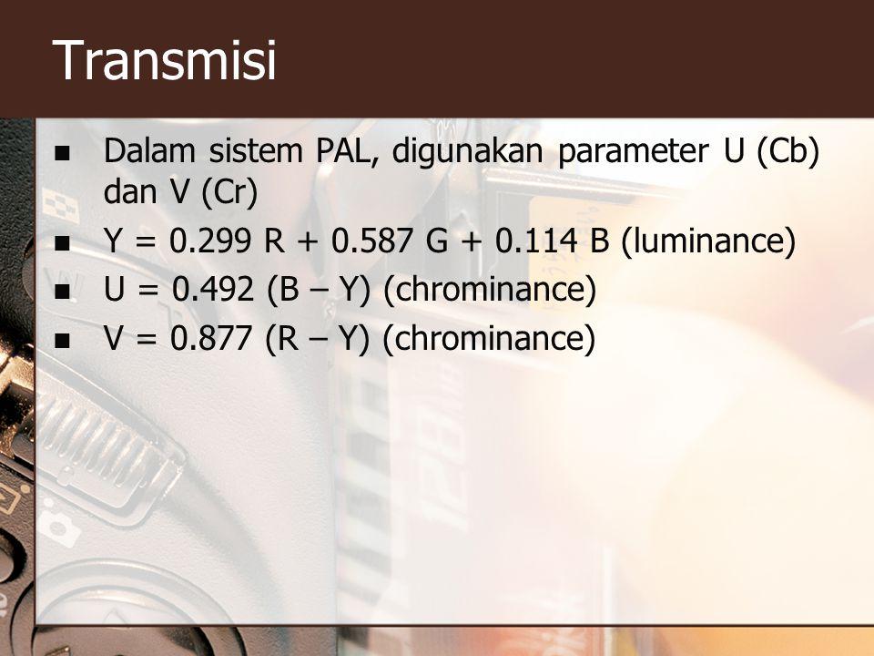 Transmisi  Dalam sistem PAL, digunakan parameter U (Cb) dan V (Cr)  Y = 0.299 R + 0.587 G + 0.114 B (luminance)  U = 0.492 (B – Y) (chrominance)  V = 0.877 (R – Y) (chrominance)