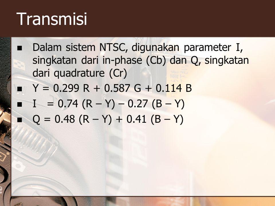 Transmisi  Dalam sistem NTSC, digunakan parameter I, singkatan dari in-phase (Cb) dan Q, singkatan dari quadrature (Cr)  Y = 0.299 R + 0.587 G + 0.114 B  I = 0.74 (R – Y) – 0.27 (B – Y)  Q = 0.48 (R – Y) + 0.41 (B – Y)