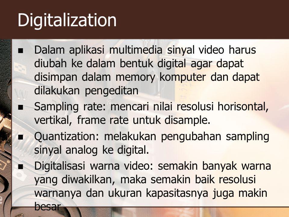 Digitalization  Dalam aplikasi multimedia sinyal video harus diubah ke dalam bentuk digital agar dapat disimpan dalam memory komputer dan dapat dilakukan pengeditan  Sampling rate: mencari nilai resolusi horisontal, vertikal, frame rate untuk disample.