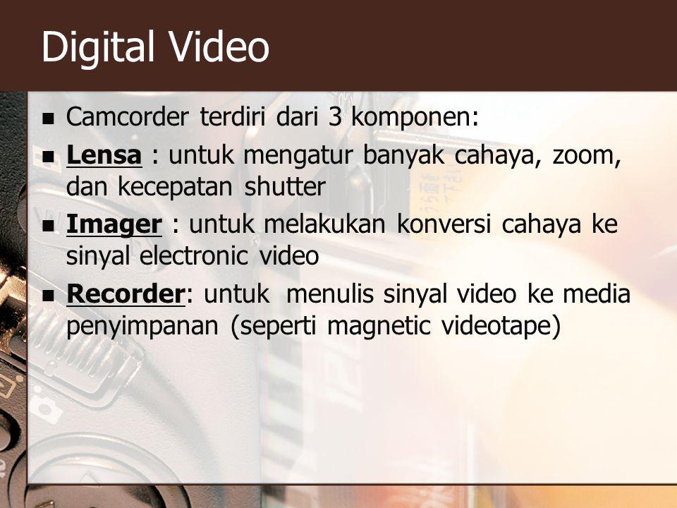 Digital Video  Camcorder terdiri dari 3 komponen:  Lensa : untuk mengatur banyak cahaya, zoom, dan kecepatan shutter  Imager : untuk melakukan konversi cahaya ke sinyal electronic video  Recorder: untuk menulis sinyal video ke media penyimpanan (seperti magnetic videotape)