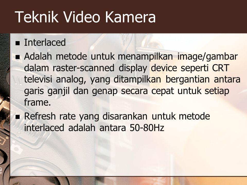 Teknik Video Kamera  Interlaced  Adalah metode untuk menampilkan image/gambar dalam raster-scanned display device seperti CRT televisi analog, yang ditampilkan bergantian antara garis ganjil dan genap secara cepat untuk setiap frame.