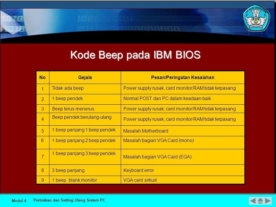 Kode Beep pada Award BIOS Kerusakan di modul memori atau memori video Beep terus menerus5 Kerusakan di bagian VGA.