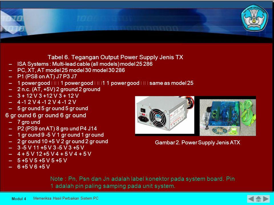 Troubleshooting power supply 1) Untuk jenis TX –Jika saklar power dihidupkan, maka kipas akan berputar, –Tegangan pada soket P8 dan P9 bila diukur dengan memakai voltmeter.