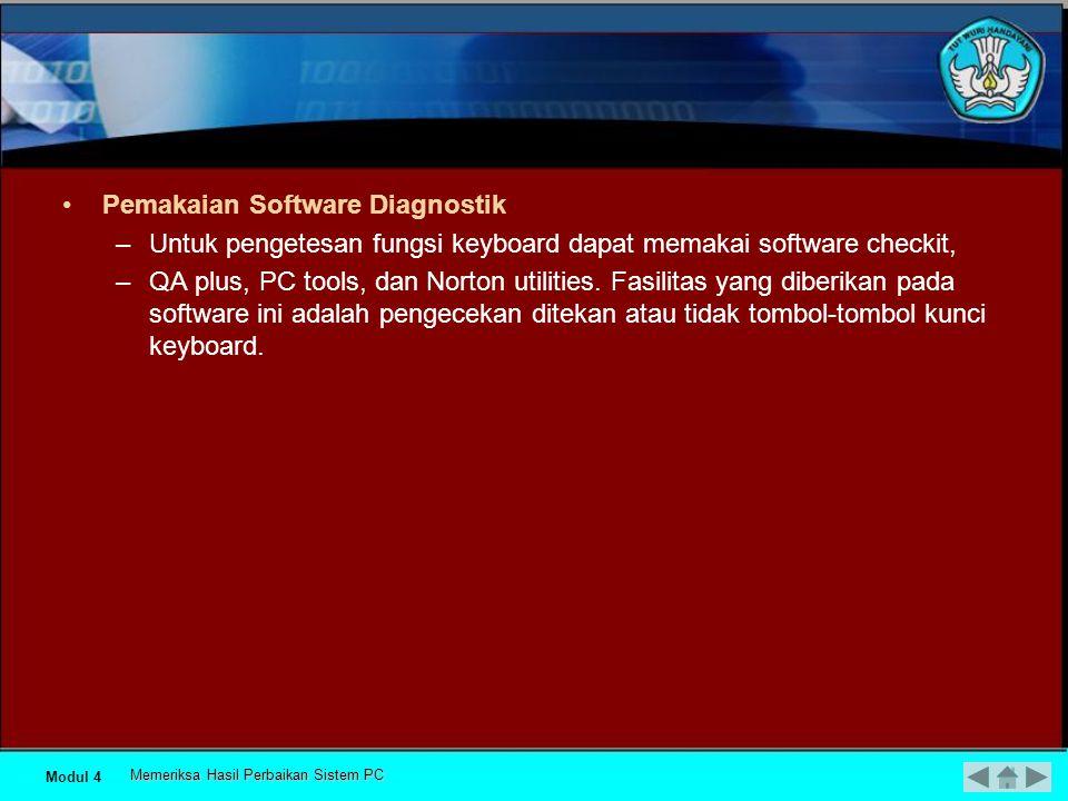 •Procedure dan troubleshooting 1) Kerusakan keyboard pada Mikrokontroller keyboard, soldiran komponen pasif pada keyboard kering, jalur PCB pada keyboard putus.