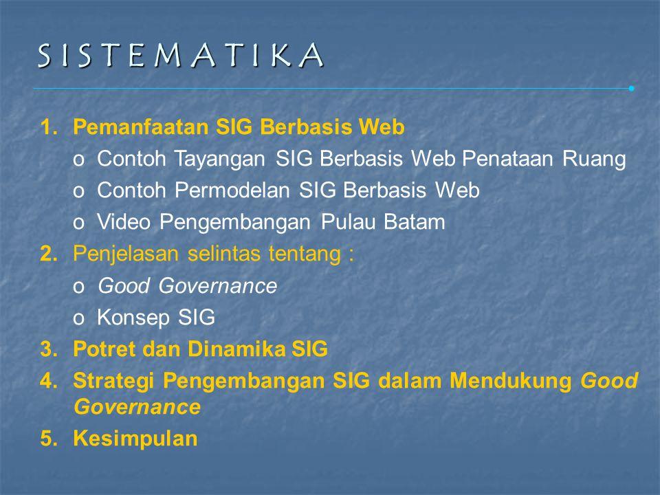 S I S T E M A T I K A S I S T E M A T I K A 1.Pemanfaatan SIG Berbasis Web o Contoh Tayangan SIG Berbasis Web Penataan Ruang o Contoh Permodelan SIG Berbasis Web o Video Pengembangan Pulau Batam 2.Penjelasan selintas tentang : o Good Governance o Konsep SIG 3.Potret dan Dinamika SIG 4.Strategi Pengembangan SIG dalam Mendukung Good Governance 5.Kesimpulan