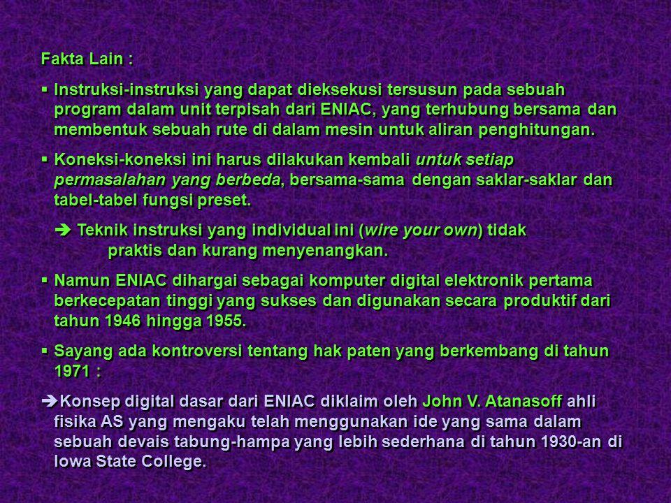 ENIAC  John W. Mauchly and J. Presper Eckert (University of Pennsylvania) menemukan ENIAC (Electrical Numerical Integrator and Computer) yang merupak
