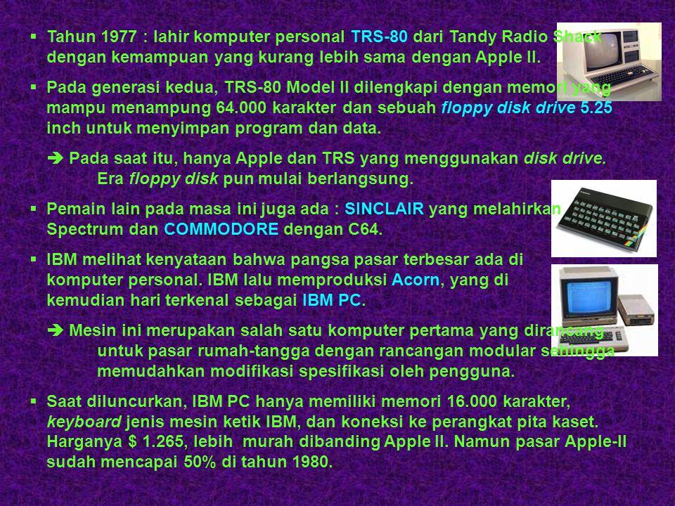 """ Tahun 1976 : dua orang """"petualang komputer"""" yaitu Steve Jobs dan Steve Wozniak menjual VW miliknya dan mencoba merakit komputer personal yang pertam"""