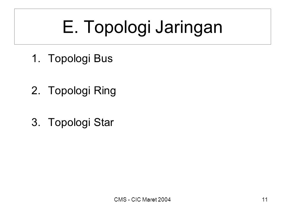CMS - CIC Maret 200411 E. Topologi Jaringan 1.Topologi Bus 2.Topologi Ring 3.Topologi Star