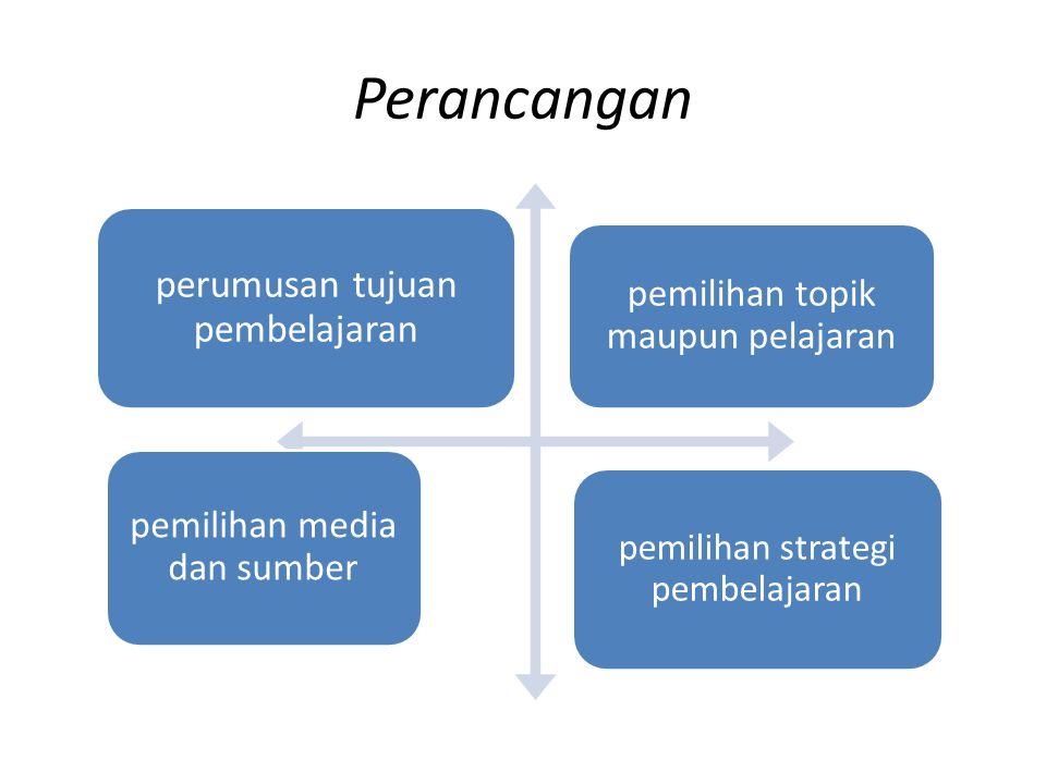 Perancangan perumusan tujuan pembelajaran pemilihan topik maupun pelajaran pemilihan media dan sumber pemilihan strategi pembelajaran