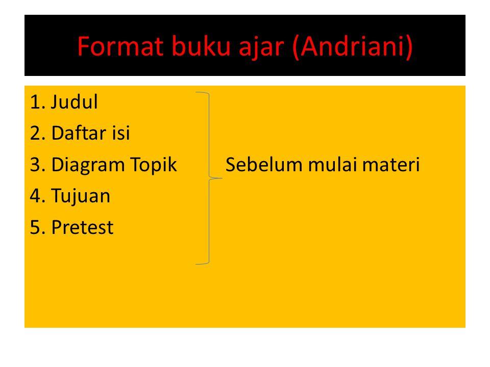 Format buku ajar (Andriani) 1.Judul 2. Daftar isi 3.