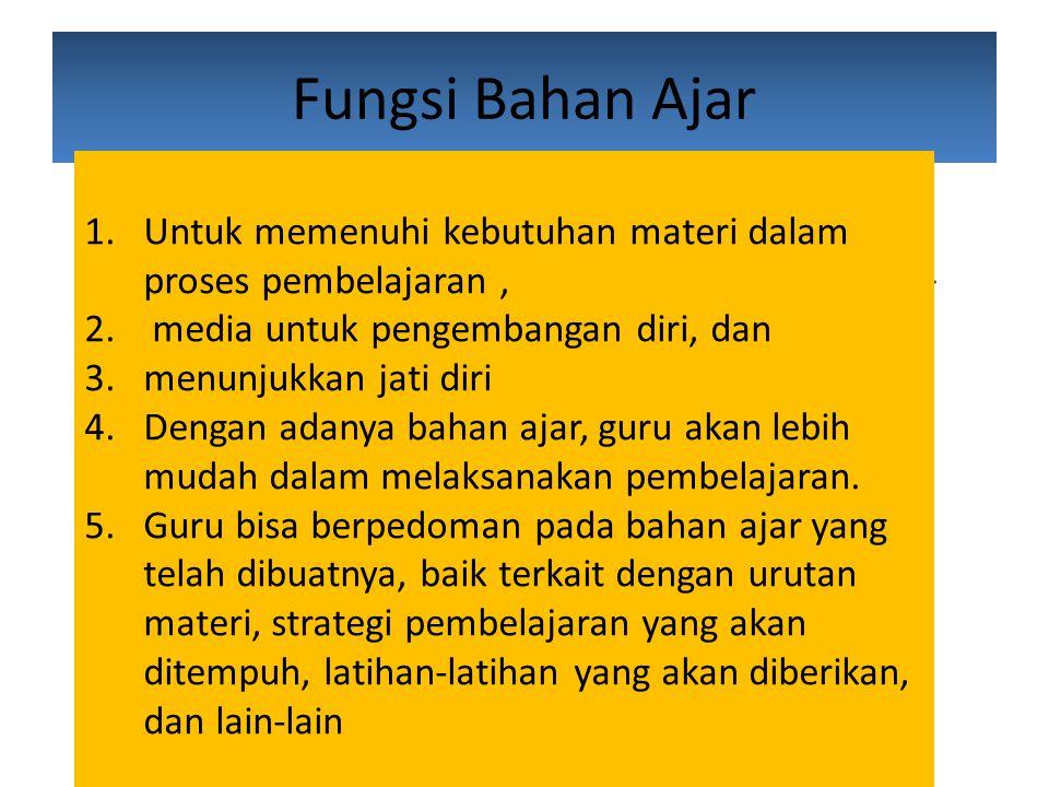 Fungsi Bahan Ajar 1.Untuk memenuhi kebutuhan materi dalam proses pembelajaran, 2.