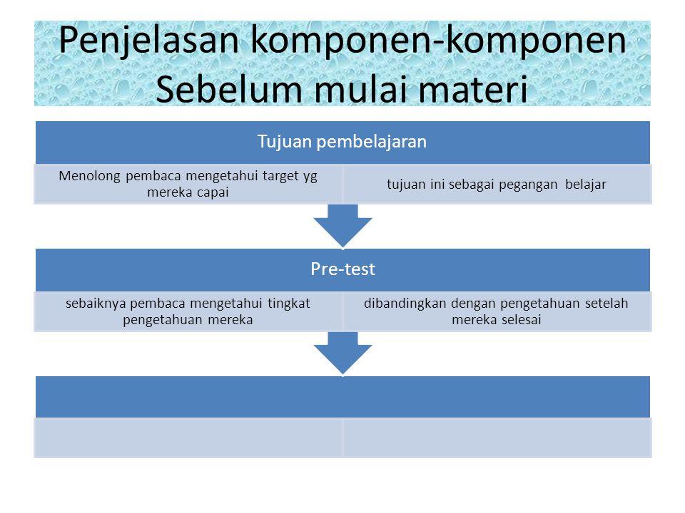 Penjelasan komponen-komponen Sebelum mulai materi Pre-test sebaiknya pembaca mengetahui tingkat pengetahuan mereka dibandingkan dengan pengetahuan setelah mereka selesai Tujuan pembelajaran Menolong pembaca mengetahui target yg mereka capai tujuan ini sebagai pegangan belajar