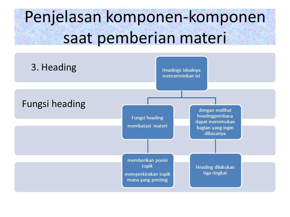 Penjelasan komponen-komponen saat pemberian materi Fungsi heading 3.
