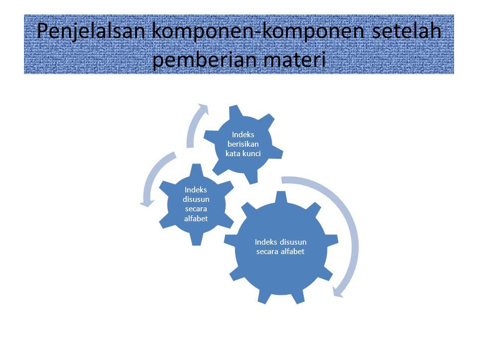Penjelalsan komponen-komponen setelah pemberian materi Indeks disusun secara alfabet Indeks berisikan kata kunci