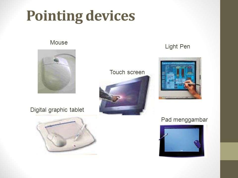 Pointing devices Mouse Light Pen Digital graphic tablet Touch screen Pad menggambar