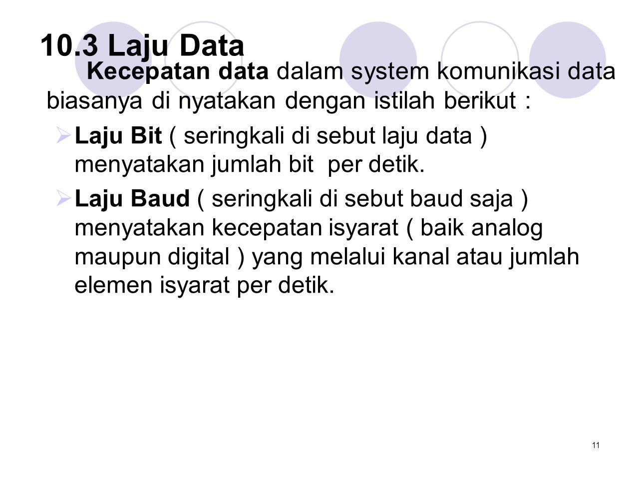 10.3 Laju Data Kecepatan data dalam system komunikasi data biasanya di nyatakan dengan istilah berikut :  Laju Bit ( seringkali di sebut laju data )