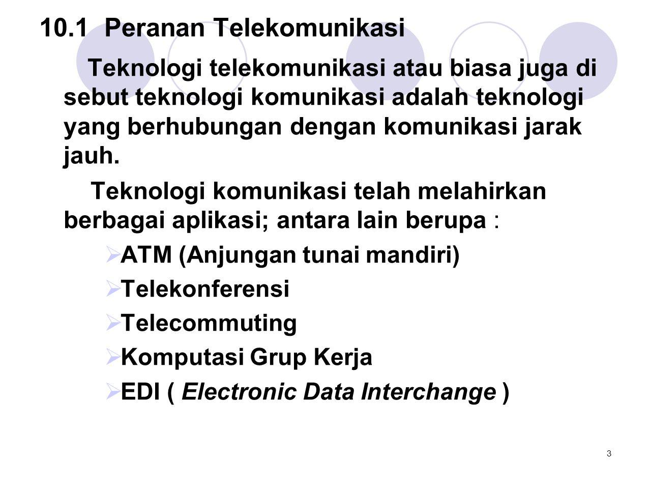 10.1Peranan Telekomunikasi Teknologi telekomunikasi atau biasa juga di sebut teknologi komunikasi adalah teknologi yang berhubungan dengan komunikasi