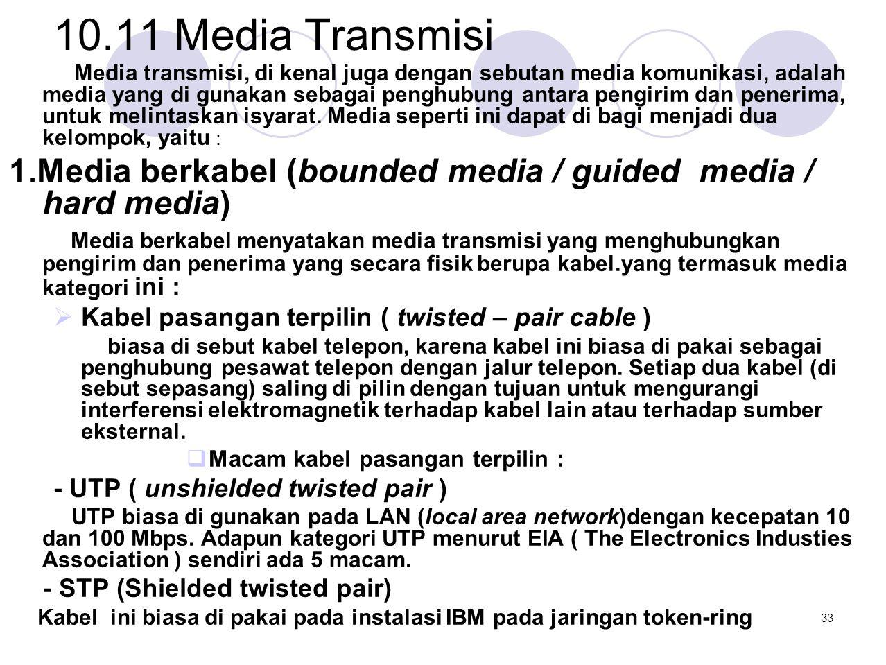 10.11 Media Transmisi Media transmisi, di kenal juga dengan sebutan media komunikasi, adalah media yang di gunakan sebagai penghubung antara pengirim