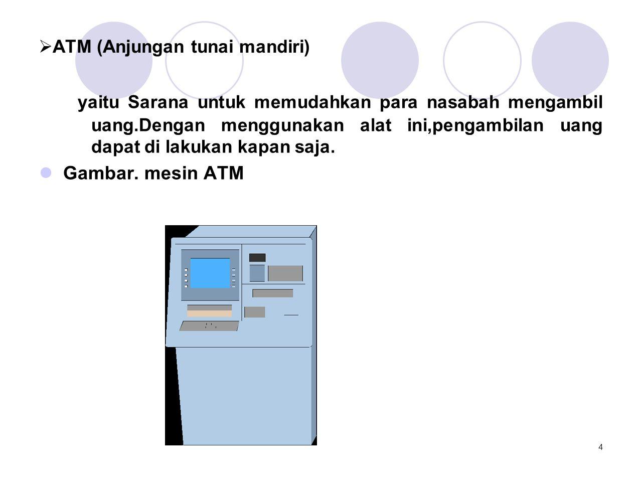  ATM (Anjungan tunai mandiri) yaitu Sarana untuk memudahkan para nasabah mengambil uang.Dengan menggunakan alat ini,pengambilan uang dapat di lakukan