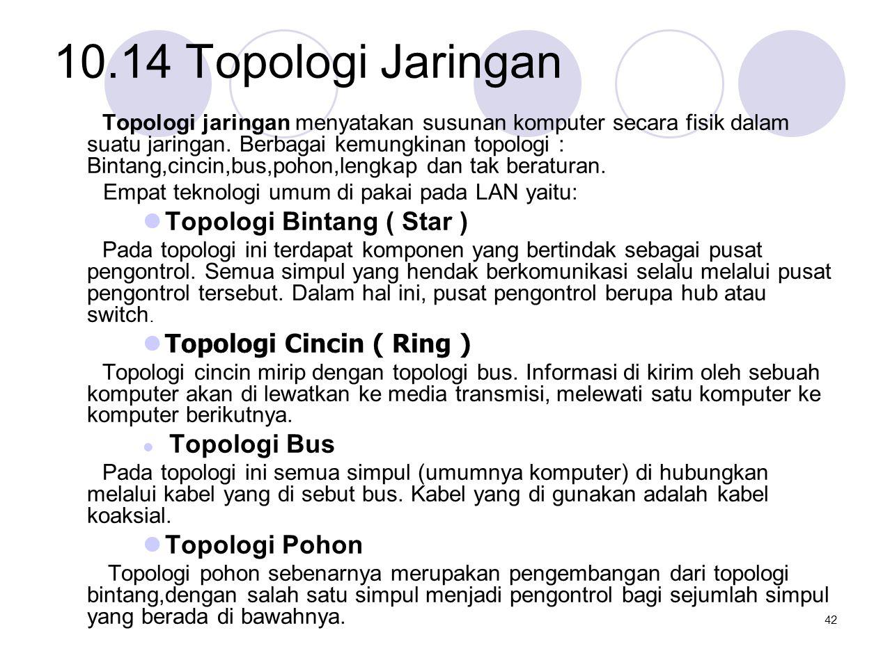 10.14 Topologi Jaringan Topologi jaringan menyatakan susunan komputer secara fisik dalam suatu jaringan. Berbagai kemungkinan topologi : Bintang,cinci