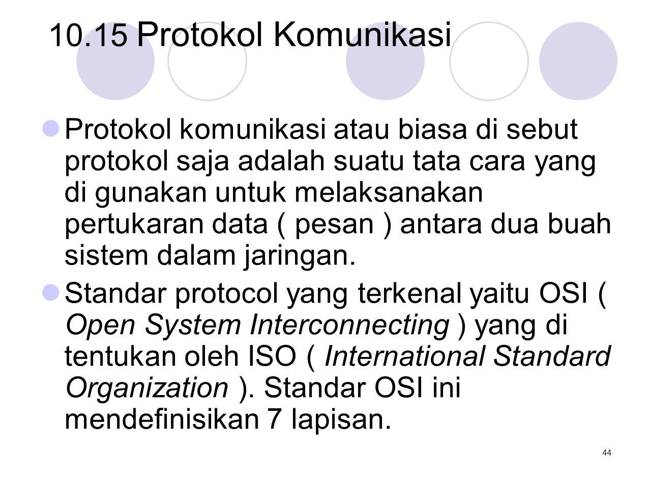10.15 Protokol Komunikasi  Protokol komunikasi atau biasa di sebut protokol saja adalah suatu tata cara yang di gunakan untuk melaksanakan pertukaran