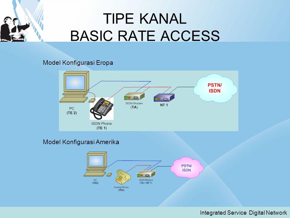 TIPE KANAL BASIC RATE ACCESS Integrated Service Digital Network Model Konfigurasi Eropa Model Konfigurasi Amerika