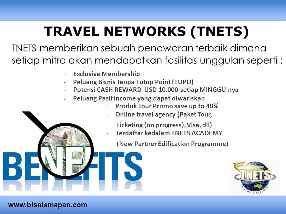 TRAVEL NETWORKS (TNETS) TNETS memberikan sebuah penawaran terbaik dimana setiap mitra akan mendapatkan fasilitas unggulan seperti : • Exclusive Member