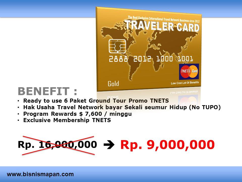 BENEFIT : • Ready to use 6 Paket Ground Tour Promo TNETS • Hak Usaha Travel Network bayar Sekali seumur Hidup (No TUPO) • Program Rewards $ 7,600 / mi