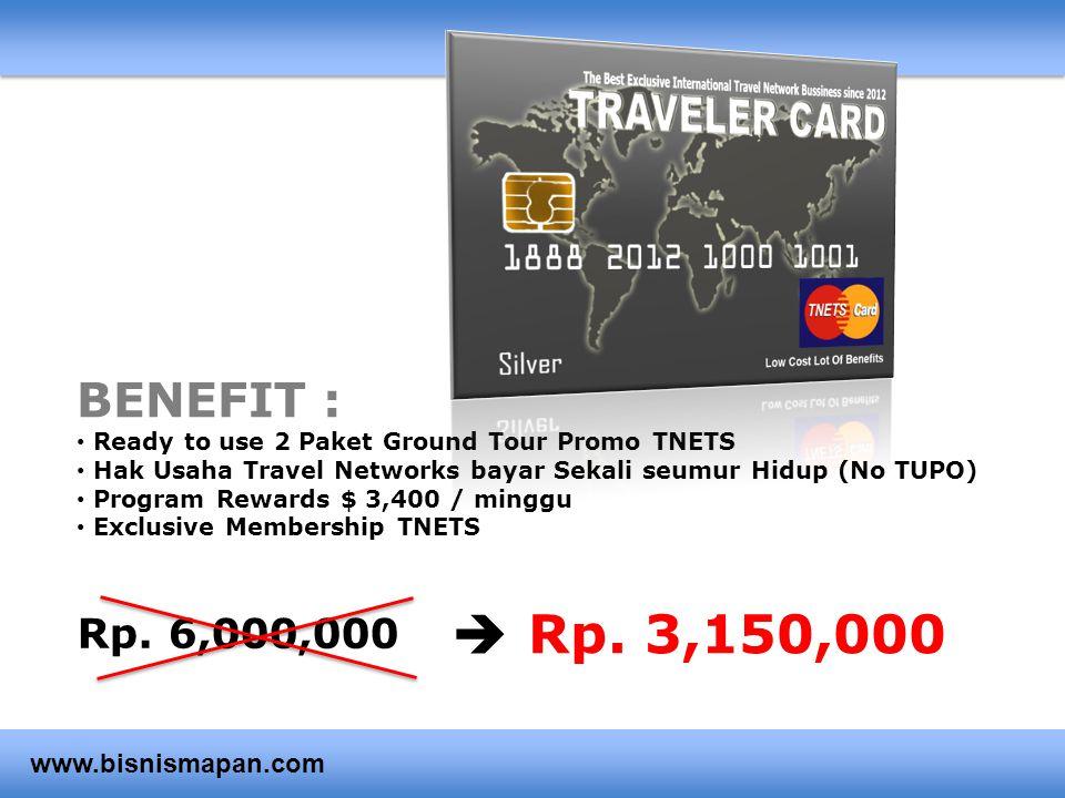 BENEFIT : • Ready to use 2 Paket Ground Tour Promo TNETS • Hak Usaha Travel Networks bayar Sekali seumur Hidup (No TUPO) • Program Rewards $ 3,400 / m