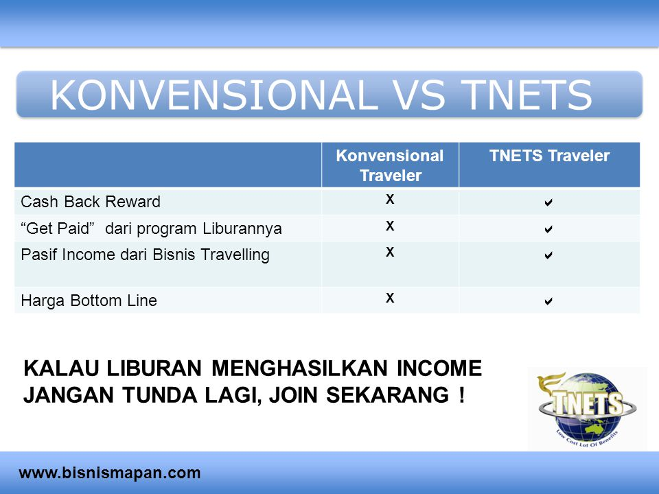 "KONVENSIONAL VS TNETS Konvensional Traveler TNETS Traveler Cash Back Reward X  ""Get Paid"" dari program Liburannya X  Pasif Income dari Bisnis Travel"