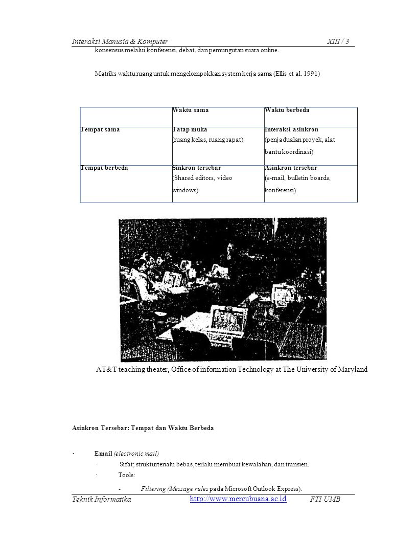 Waktu samaWaktu berbeda Tempat sama Tatap muka (ruang kelas, ruang rapat) Interaksi asinkron (penjadualan proyek, alat bantu koordinasi) Tempat berbedaSinkron tersebar (Shared editors, video windows) Asinkron tersebar (e-mail, bulletin boards, konferensi) Interaksi Manusia & KomputerXIII / 3 konsensus melalui konferensi, debat, dan pemungutan suara online.