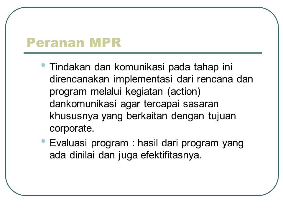 Peranan MPR • Tindakan dan komunikasi pada tahap ini direncanakan implementasi dari rencana dan program melalui kegiatan (action) dankomunikasi agar tercapai sasaran khususnya yang berkaitan dengan tujuan corporate.