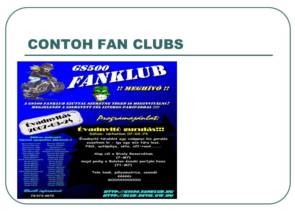 CONTOH FAN CLUBS