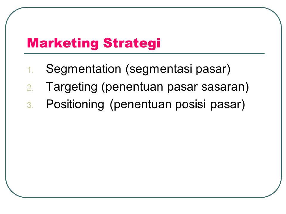Marketing Strategi 1.Segmentation (segmentasi pasar) 2.